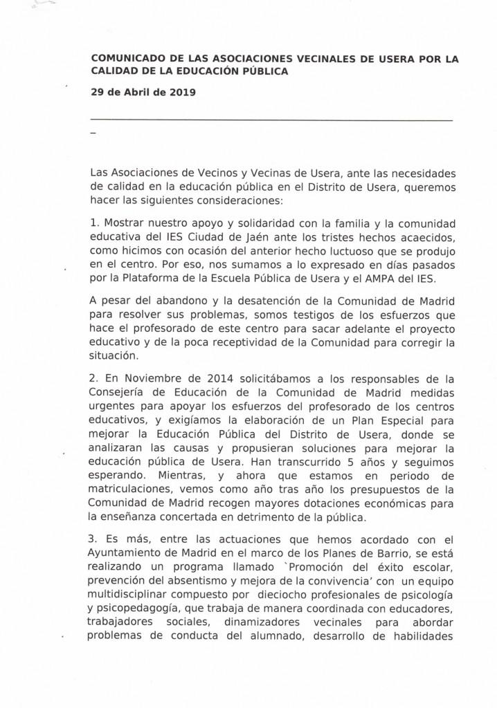 Carta de asociaciones en solidaridad con IES Ciudad de Jaen 1 de 2