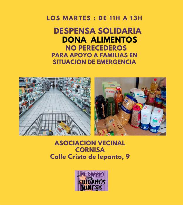 Campaña de donación de alimentos en Cornisa, para apoyar a familias en situación de emergencia